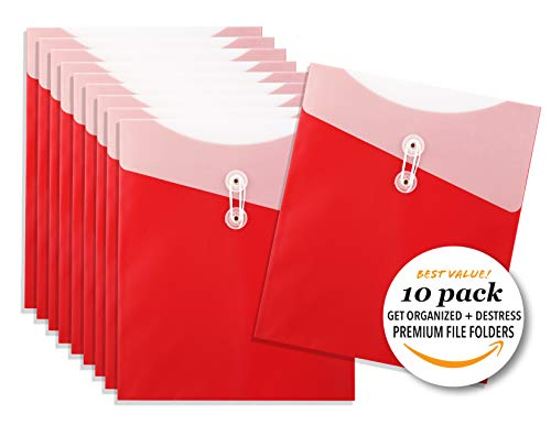 Premium Large Organization Poly Folders, Tidy Up Clutter, Large Vertical Poly Envelopes, Ruby Set of 10
