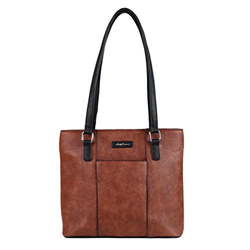 Concealed Carry Purse - YKK Locking Alayne Concealed Carry Tote by Lady Conceal (Mahogany/Black Trim)