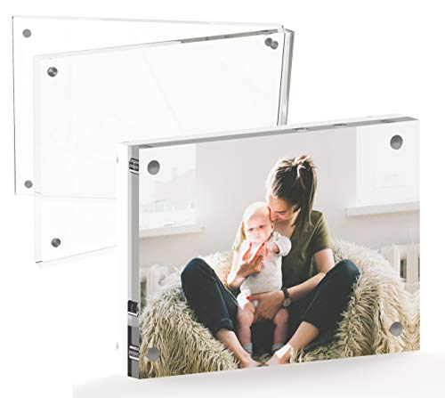 Mammoth AAA Grade Acrylic Magnetic Picture Frame, Contemporary Double Thick (20mm) Design, Double Sided Acrylic Photo Frames Frameless Desktop Display with Gift Box Package (4x6-1 Pack) ()