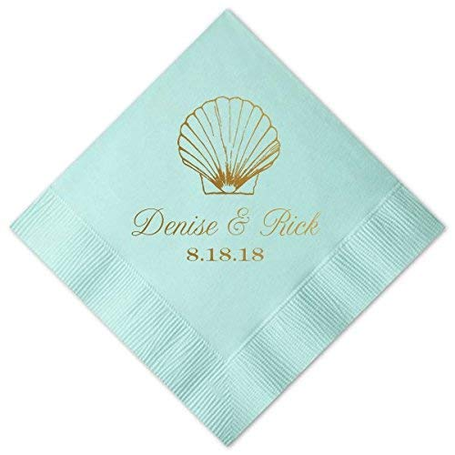 Shell Beach Wedding Cocktail Napkins - Custom - Wedding Decor Luncheon Dinner Destination Rehearsal Dinner Invitations