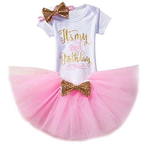 Baby Girl It's My 1st/2nd Birthday Cake Smash 3/4Pcs Shinny Sequin Bow Romper+Tutu Skirt+Headband+Leg Warmer Outfit ()