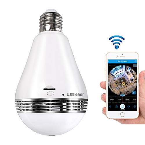 WiFi Bulb Camera VR Panoramic Security Camera with 360 Degree Fisheye Home Led Lights IP Camera Hidden Camera Home Security System for Android iOS APP White