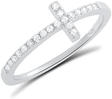 Sterling Silver Cz Thin Stackable Sideways Cross Ring (Size 4 - 11)