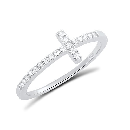 Sterling Silver Cz Thin Stackable Sideways Cross Ring - Size 8 (Ring Cross Sterling Silver)