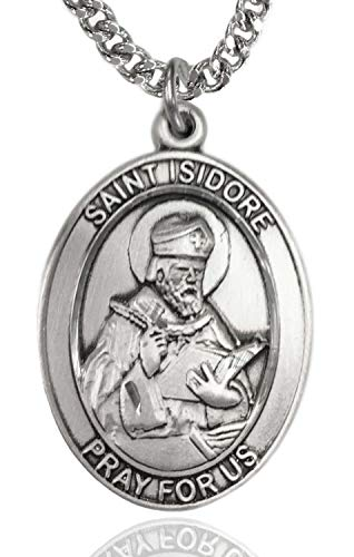 Heartland Store Men's Sterling Silver Saint Isidore of Seville Oval Medal + 24 Inch Rhodium Plated Chain & Clasp (Oval Medal 24 Inch Chain)