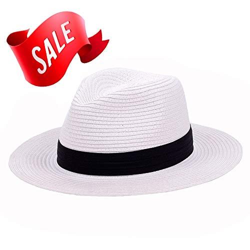 (Panama Straw Hat,Womens Sun Hats Summer Wide Brim Floppy Fedora Beach Cap UPF50+ (A03-White))