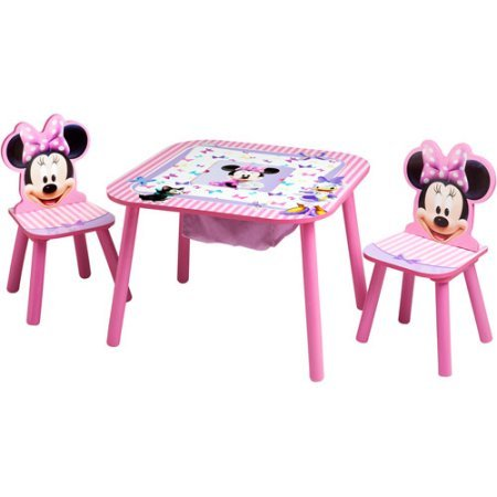 Minnie Mouse Storage Table and Chairs Set by Disney 23.50 x 23.50 x 17.50 Inches by Disney