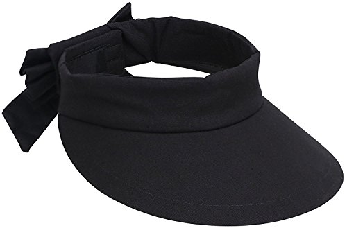 Spf 50 Sun Protection (Miehana Beach Hat Women's Wide Brim SPF 50+ UV Protection Sun Visor Hat,Black)