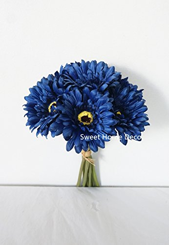 Sweet Home Deco 13'' Silk Artificial Gerbera Daisy Flower Bunch (W/ 7stems, 7 Flower Heads) Home/Wedding (Royal (Blue Fake Flowers)