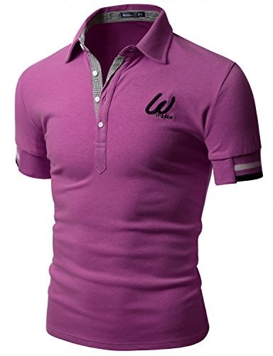 Doublju Men Trendy Skinny Fit Short Sleeve Point Polo T-shirt PURPLE, US XXX-Large / Asia (Us Polo Ni??os)