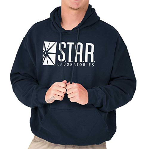 Star Labs Comic Book Superhero Nerdy Geeky Hoodie Navy (Dc Lined Sweatshirt)