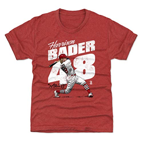 (500 LEVEL Harrison Bader St. Louis Baseball Youth Shirt (Kids Small (6-7Y), Tri Red) - Harrison Bader Home Run W WHT)