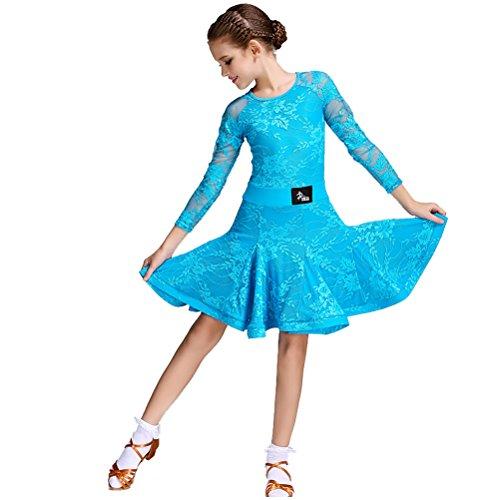 Children's Salsa Costumes (Children Simple Neck Lace Long Sleeves Fish Bone Hemline Slim Latin Dance Costume Flamenco Ballroom Waltz Salsa Dance Dress for Girls (XL, Blue))