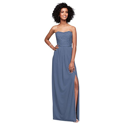 23116c4a99e Lace and Mesh Long Strapless Bridesmaid Dress Style F18095
