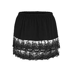 Women's Layered Tiered Sheer Lace Trim Extender Half Slips Plus Size: XL Waist: 85cm/33.46'' Length: 36cm/14.17'' Size: XXL Waist: 90CM/35.43'' Length: 37cm/14.57'' Size: XXXL Waist: 95CM/37.40'' Length: 38cm/14.96'' Size: XXXXL Waist: 100CM/...
