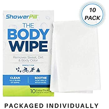 Shower Pill Body Cleaning Wipes with Special Cleansing Solution – Mens Shower Wipes – Special Cleansing Cloths – Camping Wipes for Bathing – 30 Seconds ...