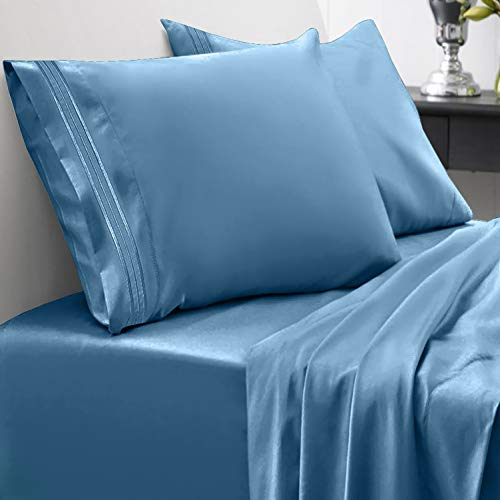 Sweet Home Collection 1800 Thread Count Bed Set Egyptian Quality Brushed Microfiber 4 Piece Deep Pocket Sheets, RV Short Queen, Denim - Short Brushed