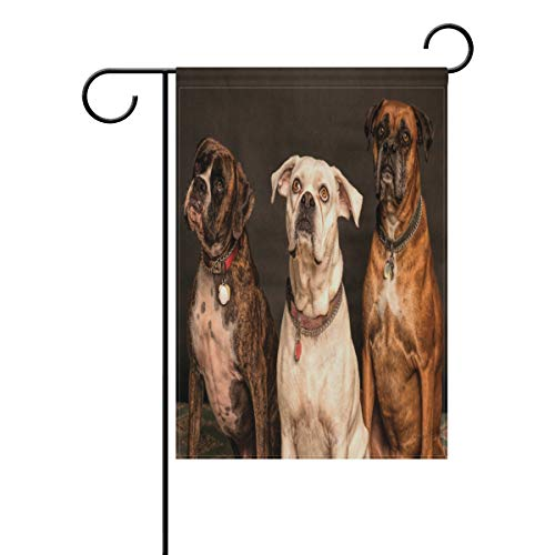 Ethel Ernest Sitting Boxer Dogs Double Sided Family Flag Polyester Outdoor Flag Home Party Decro Garden Flag 12x18 -
