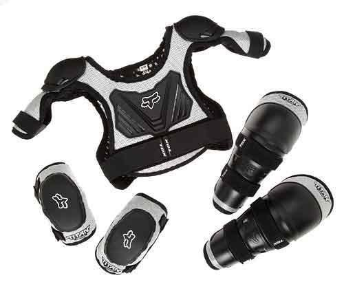 Bmx Gear (Vigilante Fox Titan Youth Combo Pack - Bundle with Roost Protector, Knee Guards, Elbow Guards for Dirt Bike, BMX, Mountain Bike (Black/Silver, Medium/Large (6-9 Years Old))