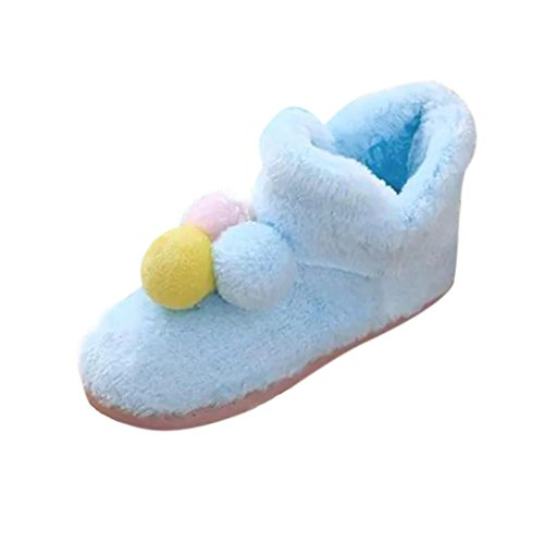 Womens Boots ,Fulltime(TM) Women Home Shoes Three-color Pom Pom Winter Autumn Warm Pregnant Women Shoes Blue