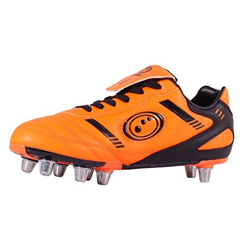 Optimum Rbtbgs8 Botas de Rugby Para Hombre, Fluro Orange/Black, 48.5