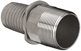 """Dixon Holedall RST150NOS Stainless Steel 316 Hose Fitting, External Swage Notched NOS Stem, 1-1/2"""" NPT Male x 1-17/32"""" Hose ID Barbed"""