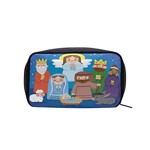 Nativity Blue Cosmetic Bag Makeup Case Toiletry Pouch ()