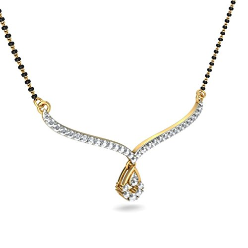 14K Or jaune 0,45CT TW White-diamond (IJ   SI) Mangalsutra