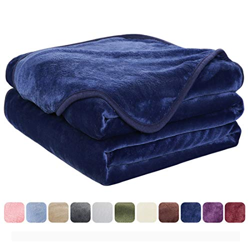 EASELAND Soft King Size Blanket All Season Warm Microplush Lightweight Thermal Fleece Blankets for Couch Bed Sofa,90x108 Inches,Dark Blue