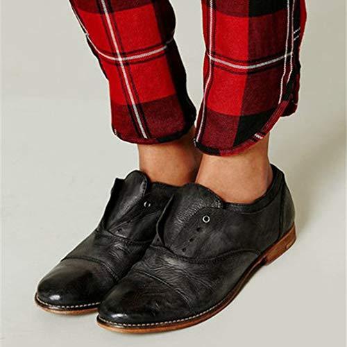 Unie Plates Femmes Noir Élégant Chaussures Pour Mocassins Couleur Rétro Ronde Loisirs Tête Marron jqSUzLVMpG