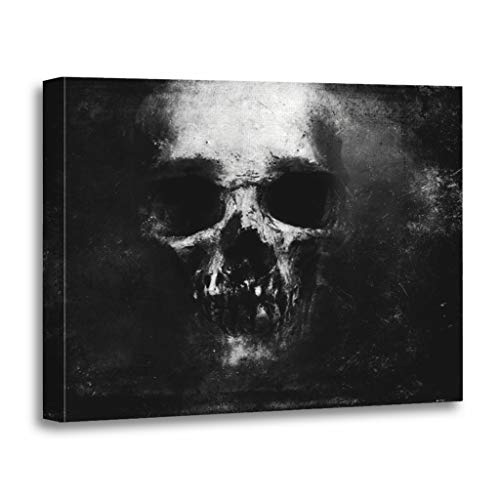 Emvency Painting Canvas Print Wooden Frame Artwork Death Scary Skull Halloween Dark Face Evil Decorative 16x20 Inches Wall Art for Home Decor