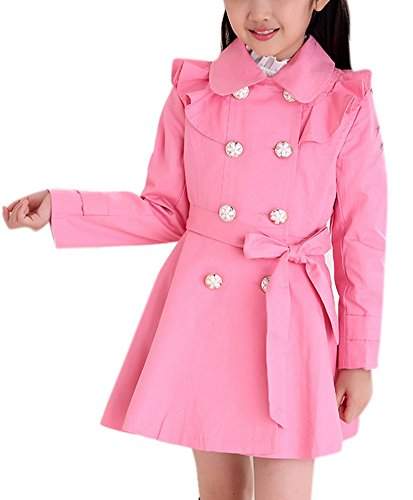 Girls Fashion Big Kids A-line Trench Coat Swing Lightweight Windbreaker Outerwear 160 Pink (Cream Spring Coat)