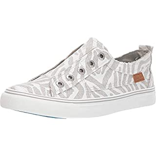 Blowfish Malibu Women's Play Sneaker, Off-white Zebra Print Linen, 8