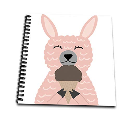 Album 12x12 Chocolate (3dRose AllSouthernDesignTees - Zoo Animals - Cute Cuddly Pink Llama Eating a Chocolate ice Cream Cone - Memory Book 12 x 12 inch (db_290642_2))
