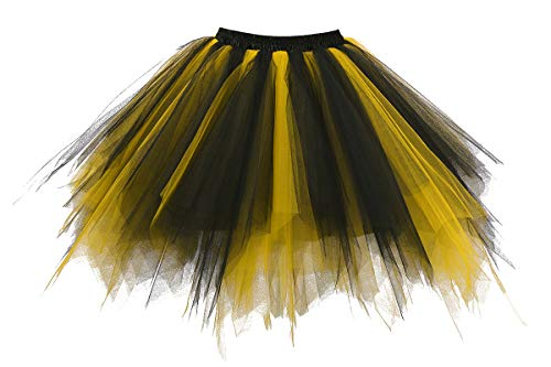 Musever 1950s Vintage Ballet Bubble Skirt Tulle Petticoat Puffy Tutu Black/Gold Large/X-Large for $<!--$19.88-->