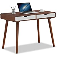 Baxton Furniture Studios Casarano Two-Tone Finish 2 Drawer Wood Home Office Writing Desk, Dark Walnut/White