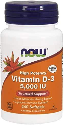 NOW Supplements, Vitamin D-3 5,000 IU, High Potency, Structural Support*, 240 Softgels