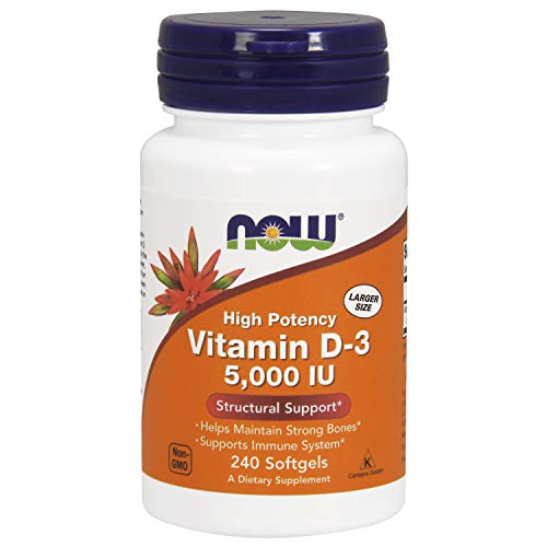 : NOW Supplements, Vitamin D-3 5,000 IU, High Potency, Structural Support*, 240 Softgels