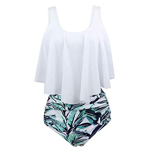 - Women Two Pieces Bathing Suits Top Ruffled with High Waisted Bottom Bikini Set