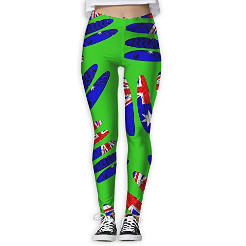 JCOE Yoga Skateboard Australian Flag Printed Women Stretchy Workout Running Yoga Pants Leggings Trousers