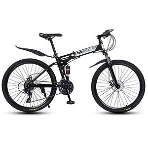 41LMJQcy6bL. SS300 JXH Bici di Montagna piegante della Bicicletta per Adulti Uomini e Donne, ad Alta Acciaio al Carbonio della Sospensione…