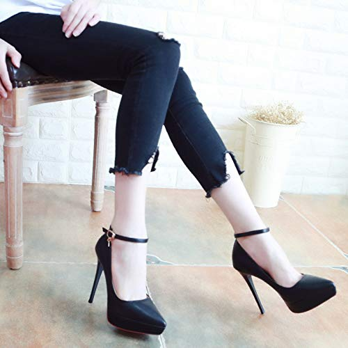 hollow heel One shoe LBTSQ high single temperamental sharp shallow head thin mouth 11cm super thin heel Black button FxEnqn1wU