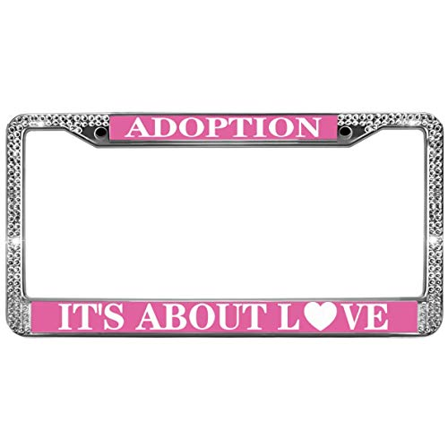 GND Adoption It's All About Love Shiny Bling License Plate Cover Frame,Adoption Quotes Rhinestone Bling License Plate Frame Metal Sparkle Bling License Plate Frame with Screw caps