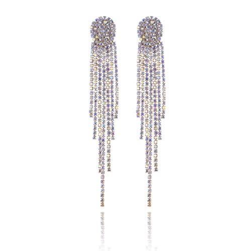 Wedding Rhinestone Drop Earrings - Women's Sparkling Sterling Silver Long Waterfall Tassel CZ Crystal Statement Chandelier Studs Bridal Dangle Earrings Shoulder Duster Earrings for Bride - Shoulder Duster Crystal