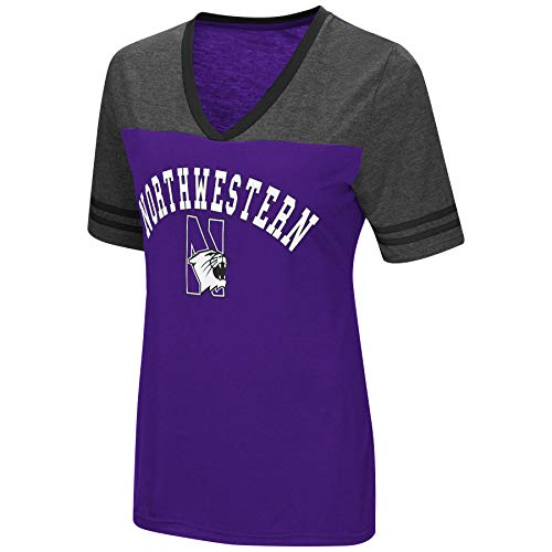 Colosseum Women's NCAA Varsity Jersey V-Neck T-Shirt-Northwestern Wildcats-Purple-Small