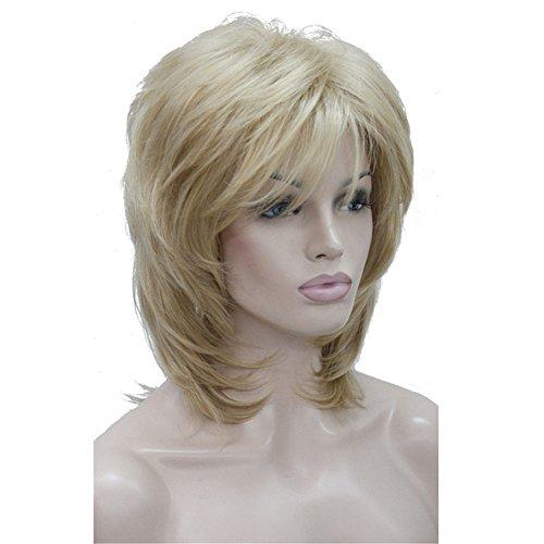 Aimole Soft Shaggy Layered Medium Length Classic Cap Synthetic Women Wigs(24B)
