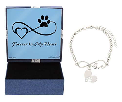(Rescue Dog Bracelet Rescue Cat Silver-Tone Forever in My Heart Paw Print Love Infinity Bracelet Jewelry Box Keepsake Gift Dog Lover Gifts Bracelet Pet Dog Memorial Gift Cat Memorial Gift)