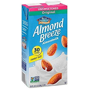 ALMOND BREEZE, Unsweetened Original Almond Breeze, Pack of 8, Size 64 FZ, (Dairy Free Gluten Free GMO Free Kosher Vegan Wheat Free)