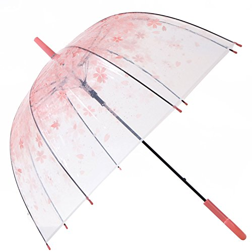 HAOCOO Cherry Blossoms Clear Umbrella,Bubble Transparent Dome Auto Open Umbrella Windproof for Outdoor Weddings (Pink)