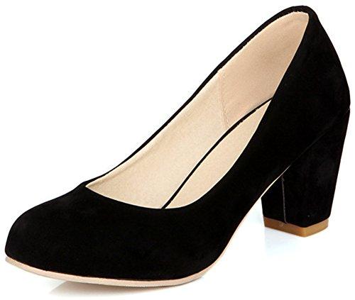 Summerwhisper Women's Comfy Faux Suede Round Toe Low Cut Wide Width OL Work Shoes Block Mid Heel Pumps Shoes Black 7 B(M) US